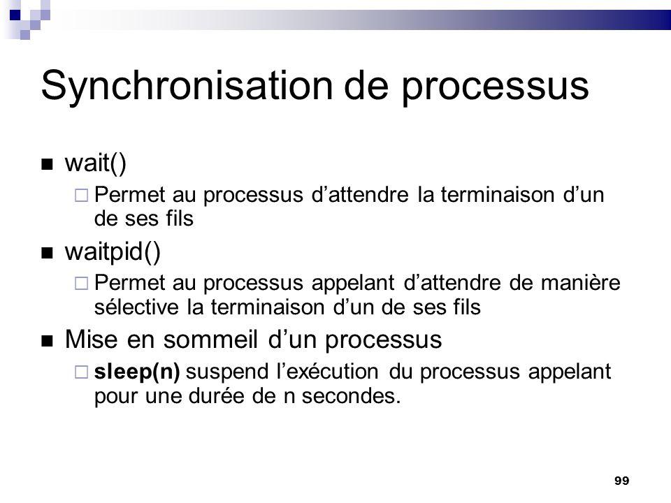 99 Synchronisation de processus wait() Permet au processus dattendre la terminaison dun de ses fils waitpid() Permet au processus appelant dattendre d