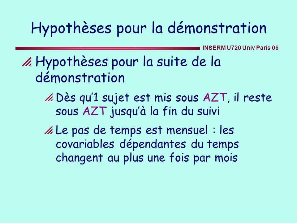 INSERM U720 Univ Paris 06 Hypothèses pour la démonstration Hypothèses pour la suite de la démonstration Dès qu1 sujet est mis sous AZT, il reste sous
