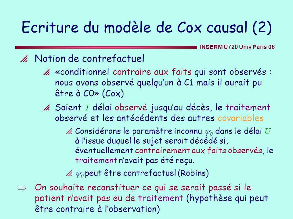 INSERM U720 Univ Paris 06 Notion de contrefactuel «conditionnel contraire aux faits qui sont observés : nous avons observé quelquun à C1 mais il aurai
