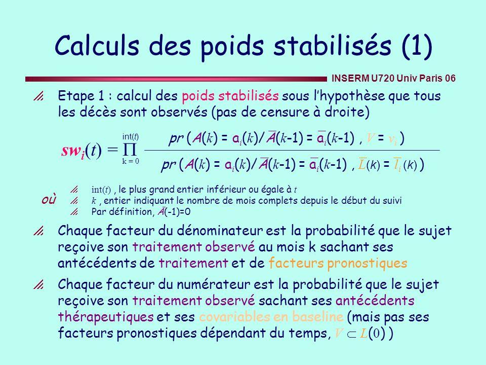 INSERM U720 Univ Paris 06 Calculs des poids stabilisés (1) Etape 1 : calcul des poids stabilisés sous lhypothèse que tous les décès sont observés (pas