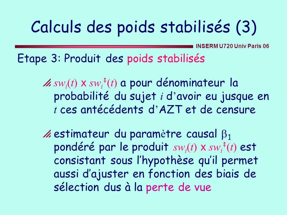 INSERM U720 Univ Paris 06 Calculs des poids stabilisés (3) Etape 3: Produit des poids stabilisés sw i (t) x sw i (t) a pour dénominateur la probabilit