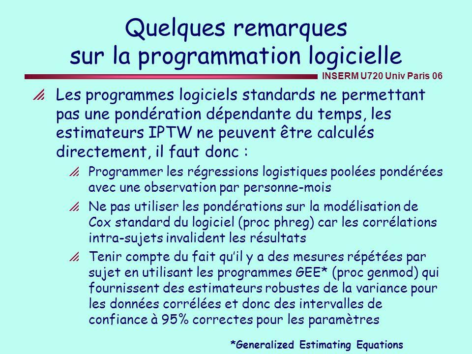 INSERM U720 Univ Paris 06 Quelques remarques sur la programmation logicielle Les programmes logiciels standards ne permettant pas une pondération dépe