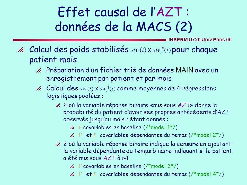 INSERM U720 Univ Paris 06 Effet causal de lAZT : données de la MACS (2) Calcul des poids stabilisés sw i (t) x sw i (t) pour chaque patient-mois Prépa