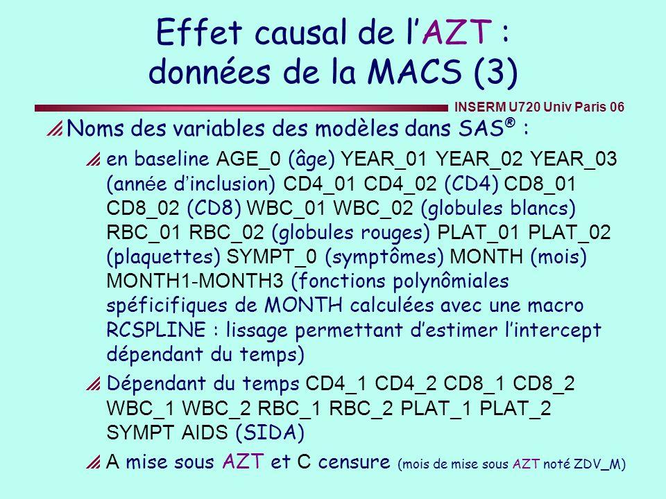 INSERM U720 Univ Paris 06 Effet causal de lAZT : données de la MACS (3) Noms des variables des modèles dans SAS ® : en baseline AGE_0 (âge) YEAR_01 YE