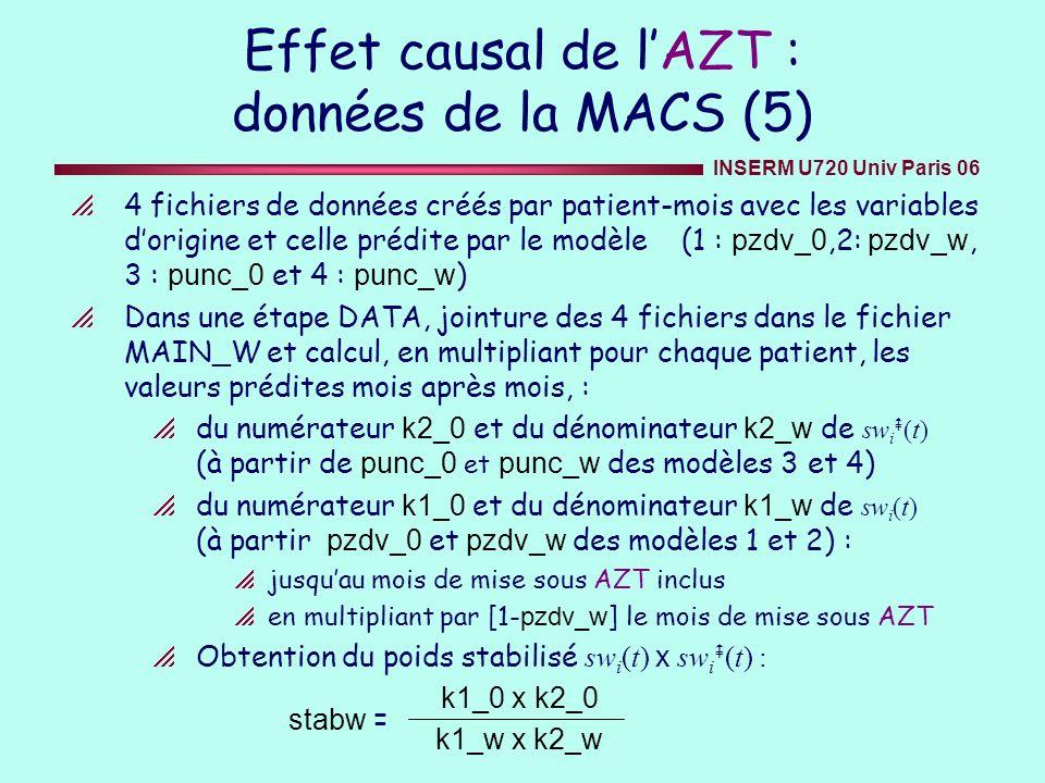 INSERM U720 Univ Paris 06 Effet causal de lAZT : données de la MACS (5) 4 fichiers de données créés par patient-mois avec les variables dorigine et ce