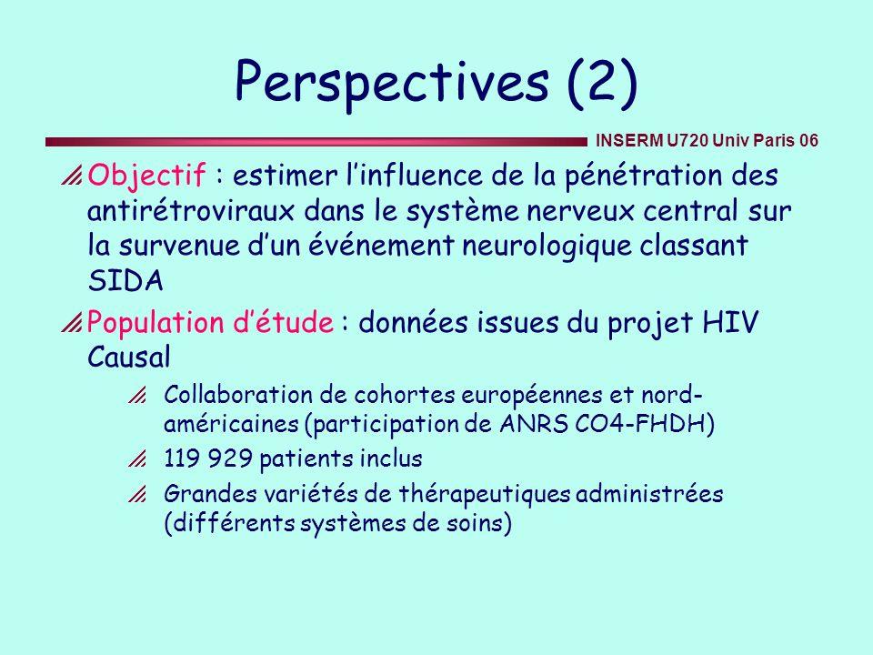 INSERM U720 Univ Paris 06 Perspectives (2) Objectif : estimer linfluence de la pénétration des antirétroviraux dans le système nerveux central sur la