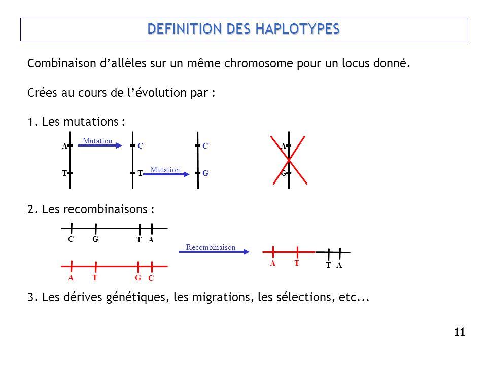 Combinaison dallèles sur un même chromosome pour un locus donné. Crées au cours de lévolution par : 1. Les mutations : 2. Les recombinaisons : 3. Les