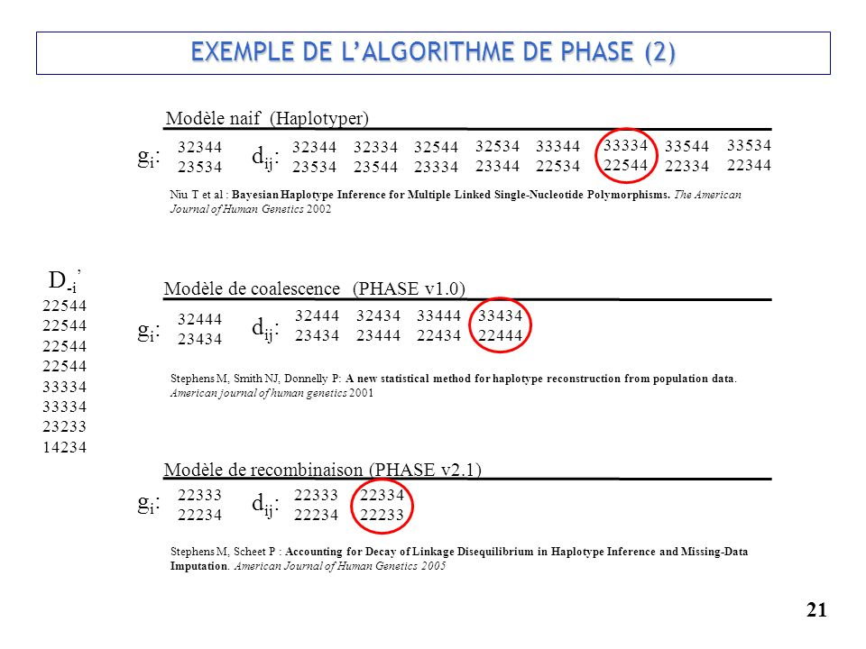 21 EXEMPLE DE LALGORITHME DE PHASE (2) EXEMPLE DE LALGORITHME DE PHASE (2) 22544 33334 23233 14234 D -i Modèle naif (Haplotyper) Modèle de coalescence (PHASE v1.0) Modèle de recombinaison (PHASE v2.1) d ij : gi:gi: gi:gi: gi:gi: Stephens M, Scheet P : Accounting for Decay of Linkage Disequilibrium in Haplotype Inference and Missing-Data Imputation.