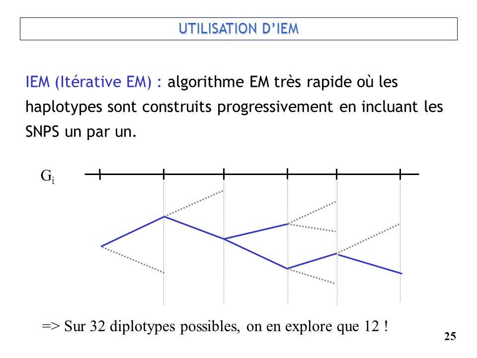 25 UTILISATION DIEM IEM (Itérative EM) : algorithme EM très rapide où les haplotypes sont construits progressivement en incluant les SNPS un par un. G
