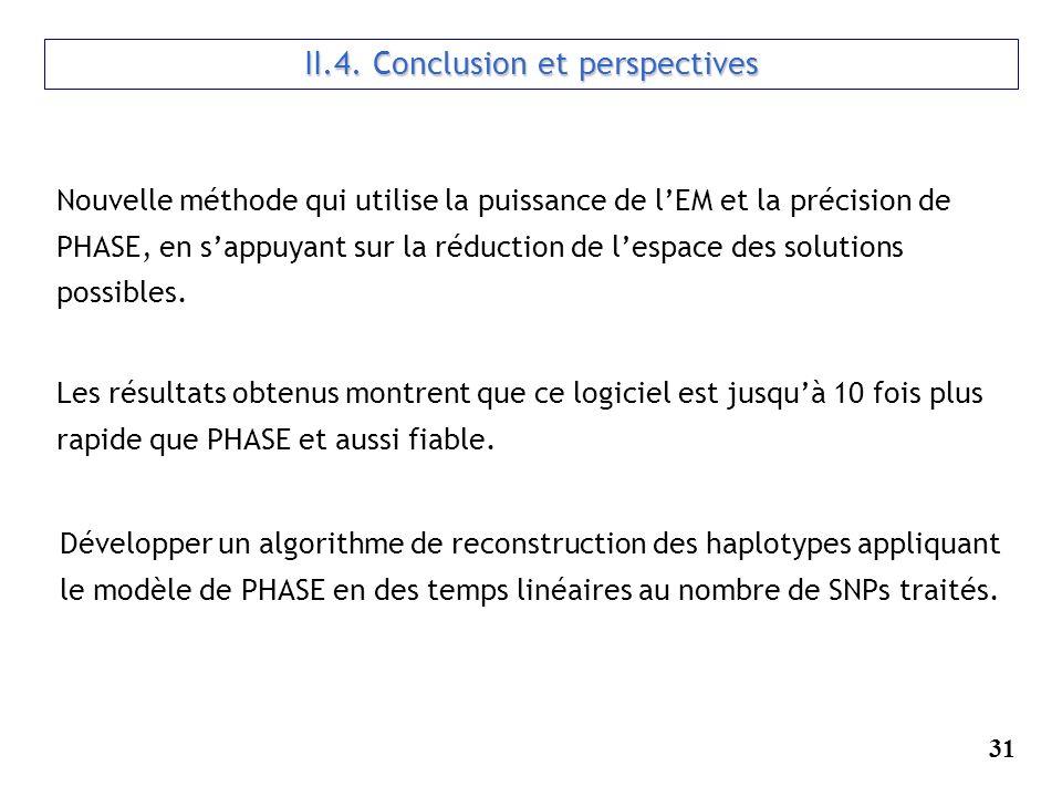 31 II.4. Conclusion et perspectives Nouvelle méthode qui utilise la puissance de lEM et la précision de PHASE, en sappuyant sur la réduction de lespac