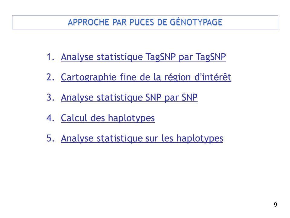 APPROCHE PAR PUCES DE GÉNOTYPAGE 1.Analyse statistique TagSNP par TagSNP 2.Cartographie fine de la r é gion d int é rêt 3.Analyse statistique SNP par