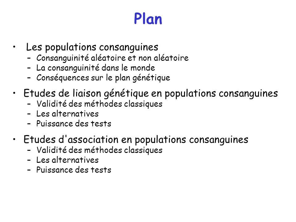 Plan Les populations consanguines –Consanguinité aléatoire et non aléatoire –La consanguinité dans le monde –Conséquences sur le plan génétique Etudes