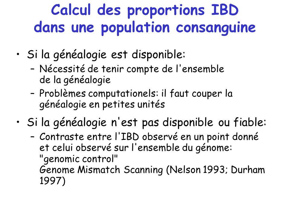 Calcul des proportions IBD dans une population consanguine Si la généalogie est disponible: –Nécessité de tenir compte de l'ensemble de la généalogie
