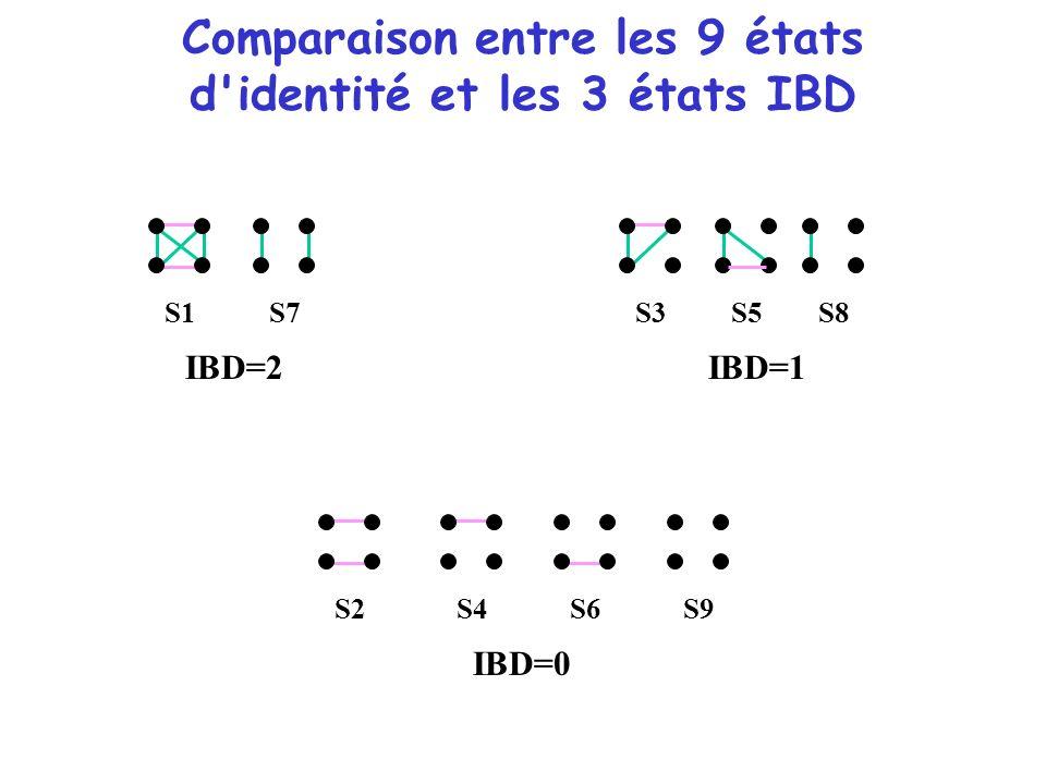 Comparaison entre les 9 états d'identité et les 3 états IBD S1 S8 S7 S5S3S2 S4 S6 S9 IBD=2IBD=1 IBD=0