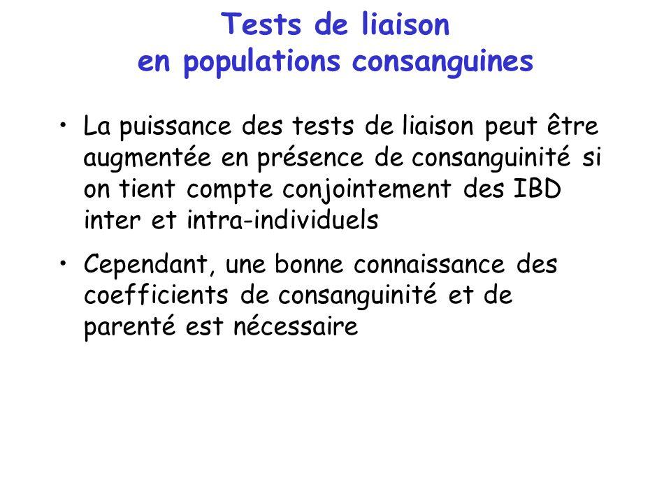 Tests de liaison en populations consanguines La puissance des tests de liaison peut être augmentée en présence de consanguinité si on tient compte con