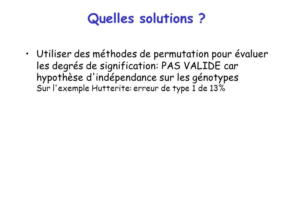 Quelles solutions ? Utiliser des méthodes de permutation pour évaluer les degrés de signification: PAS VALIDE car hypothèse d'indépendance sur les gén