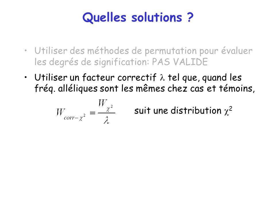 Quelles solutions ? Utiliser des méthodes de permutation pour évaluer les degrés de signification: PAS VALIDE Utiliser un facteur correctif tel que, q