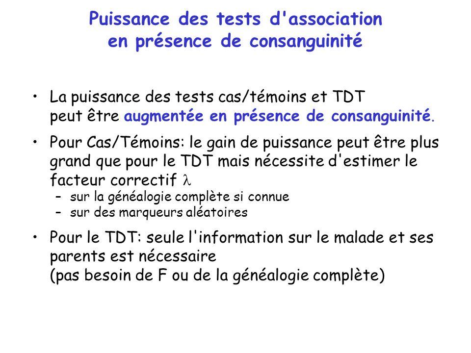 Puissance des tests d'association en présence de consanguinité La puissance des tests cas/témoins et TDT peut être augmentée en présence de consanguin