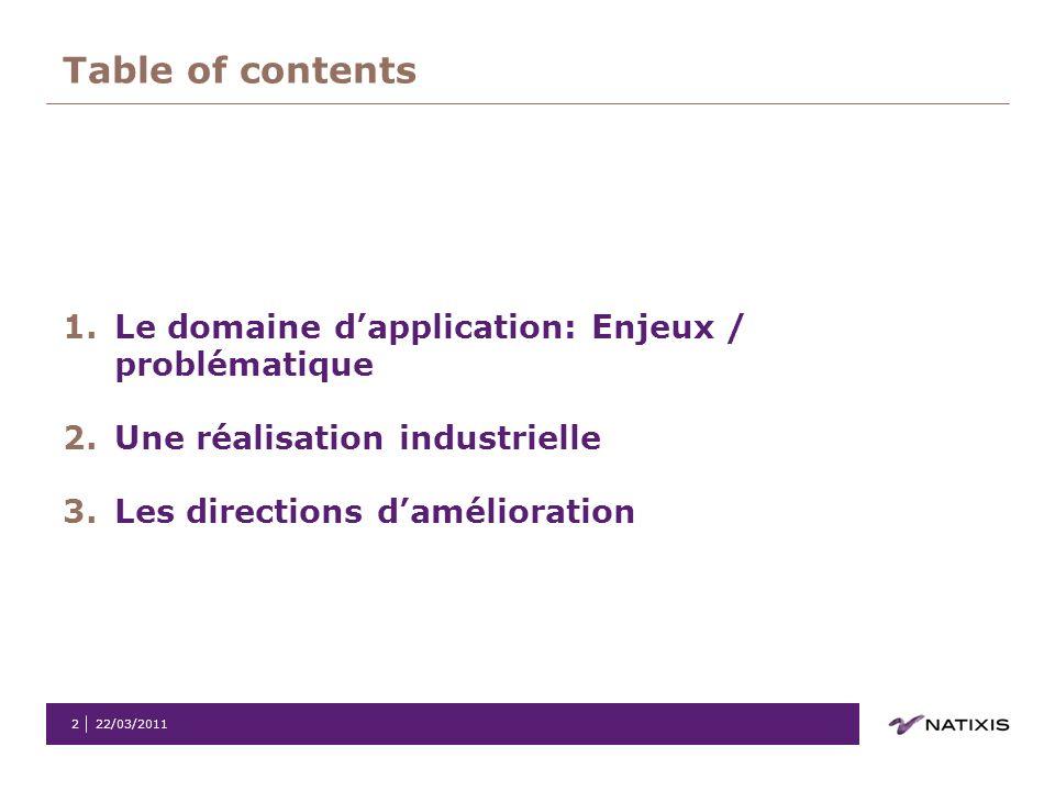 22/03/20112 Table of contents 1.Le domaine dapplication: Enjeux / problématique 2.Une réalisation industrielle 3.Les directions damélioration