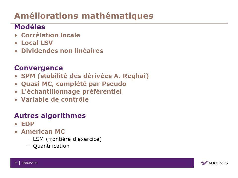22/03/201121 Améliorations mathématiques Modèles Corrélation locale Local LSV Dividendes non linéaires Convergence SPM (stabilité des dérivées A. Regh