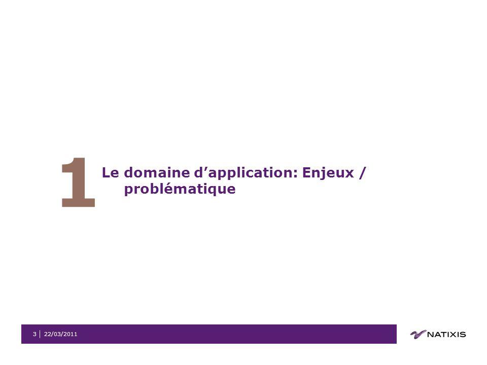 22/03/20113 1 Le domaine dapplication: Enjeux / problématique