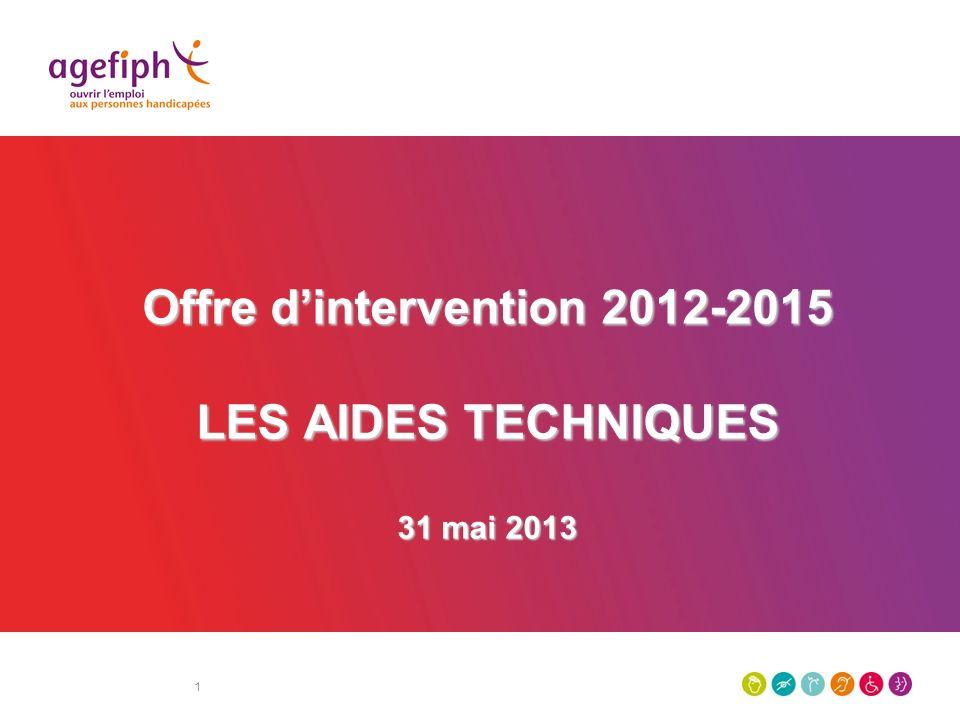 1 Offre dintervention 2012-2015 LES AIDES TECHNIQUES 31 mai 2013