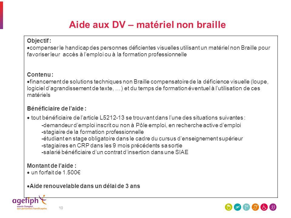 10 Aide aux DV – matériel non braille Objectif : compenser le handicap des personnes déficientes visuelles utilisant un matériel non Braille pour favo