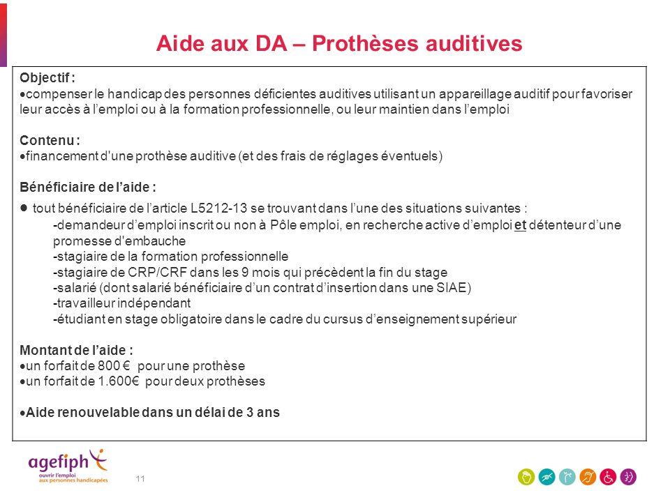11 Aide aux DA – Prothèses auditives Objectif : compenser le handicap des personnes déficientes auditives utilisant un appareillage auditif pour favor