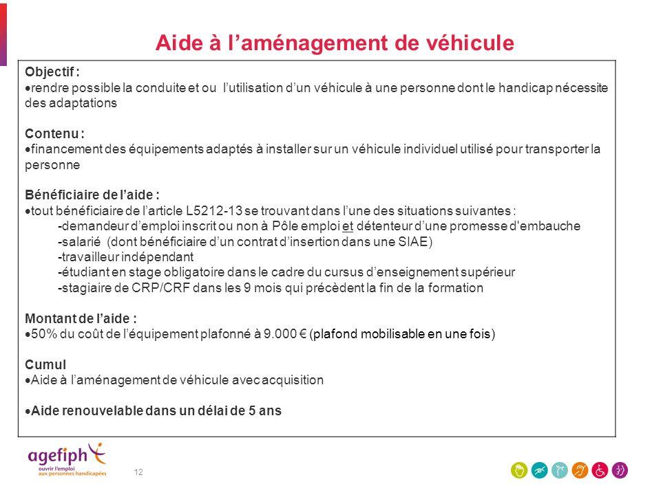 12 Aide à laménagement de véhicule Objectif : rendre possible la conduite et ou lutilisation dun véhicule à une personne dont le handicap nécessite de