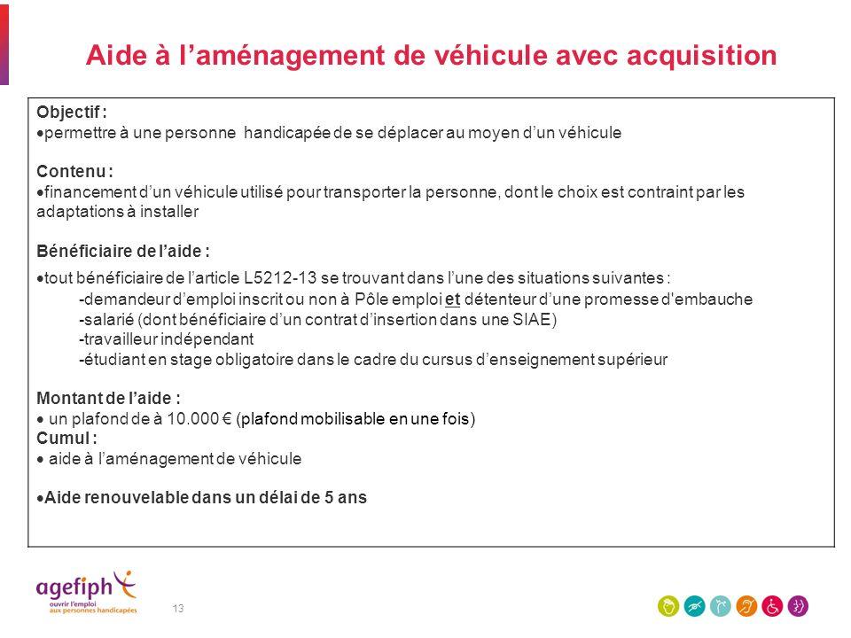 13 Aide à laménagement de véhicule avec acquisition Objectif : permettre à une personne handicapée de se déplacer au moyen dun véhicule Contenu : fina
