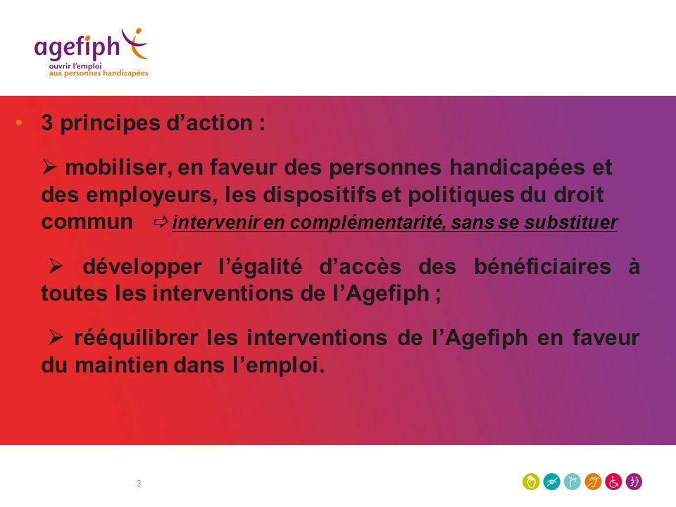 3 3 principes daction : mobiliser, en faveur des personnes handicapées et des employeurs, les dispositifs et politiques du droit commun intervenir en