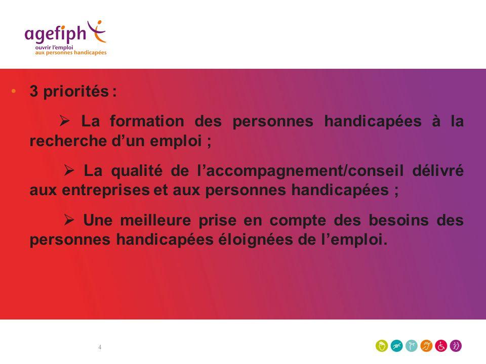 4 3 priorités : La formation des personnes handicapées à la recherche dun emploi ; La qualité de laccompagnement/conseil délivré aux entreprises et au