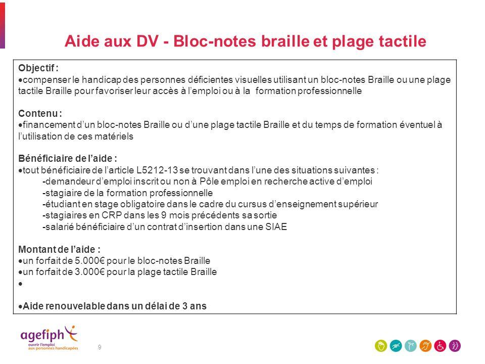 9 Aide aux DV - Bloc-notes braille et plage tactile Objectif : compenser le handicap des personnes déficientes visuelles utilisant un bloc-notes Brail