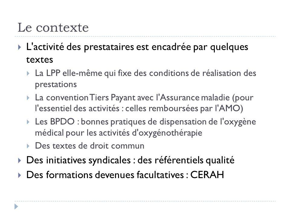 Le contexte L'activité des prestataires est encadrée par quelques textes La LPP elle-même qui fixe des conditions de réalisation des prestations La co