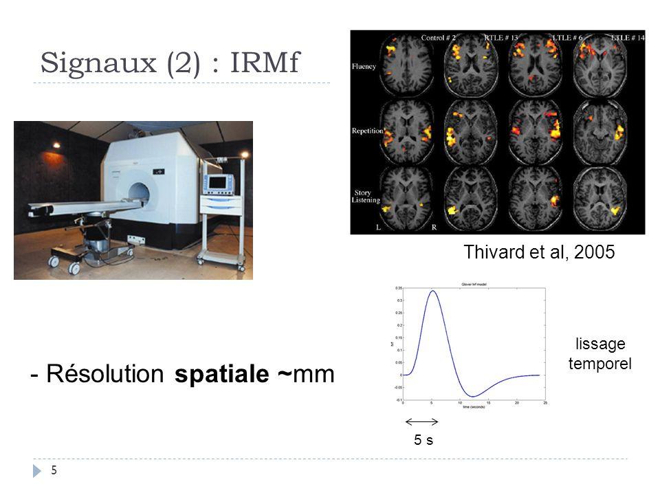 Signaux (2) : IRMf Thivard et al, 2005 - Résolution spatiale ~mm 5 s lissage temporel 5