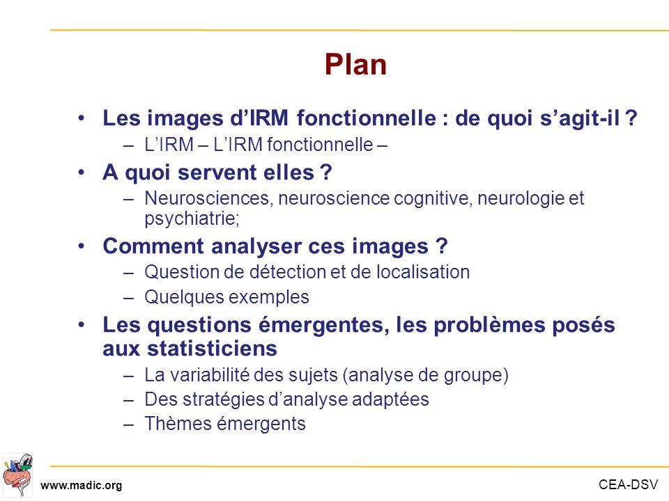 CEA-DSV www.madic.org Plan Les images dIRM fonctionnelle : de quoi sagit-il ? –LIRM – LIRM fonctionnelle – A quoi servent elles ? –Neurosciences, neur