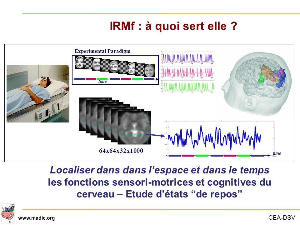 CEA-DSV www.madic.org IRMf : à quoi sert elle ? Localiser dans dans lespace et dans le temps les fonctions sensori-motrices et cognitives du cerveau –