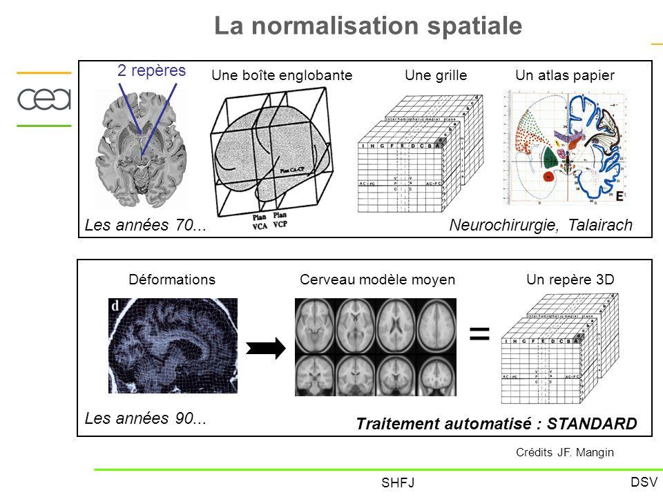 DSV SHFJ La normalisation spatiale = Les années 70... 2 repères Une boîte englobanteUne grilleUn atlas papier Neurochirurgie, Talairach Les années 90.