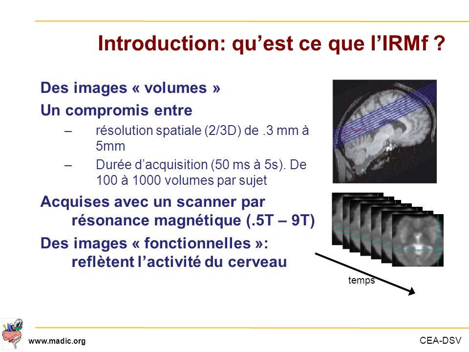 CEA-DSV www.madic.org Introduction: quest ce que lIRMf ? Des images « volumes » Un compromis entre –résolution spatiale (2/3D) de.3 mm à 5mm –Durée da