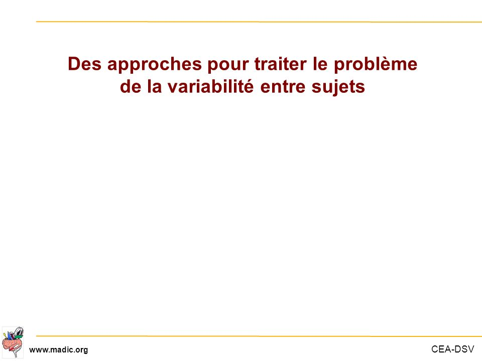 CEA-DSV www.madic.org Des approches pour traiter le problème de la variabilité entre sujets