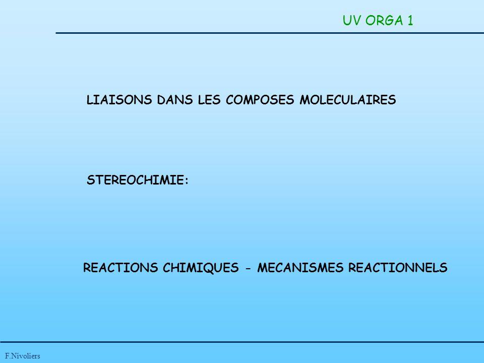 F.Nivoliers UV ORGA 1 LIAISONS DANS LES COMPOSES MOLECULAIRES STEREOCHIMIE: REACTIONS CHIMIQUES - MECANISMES REACTIONNELS