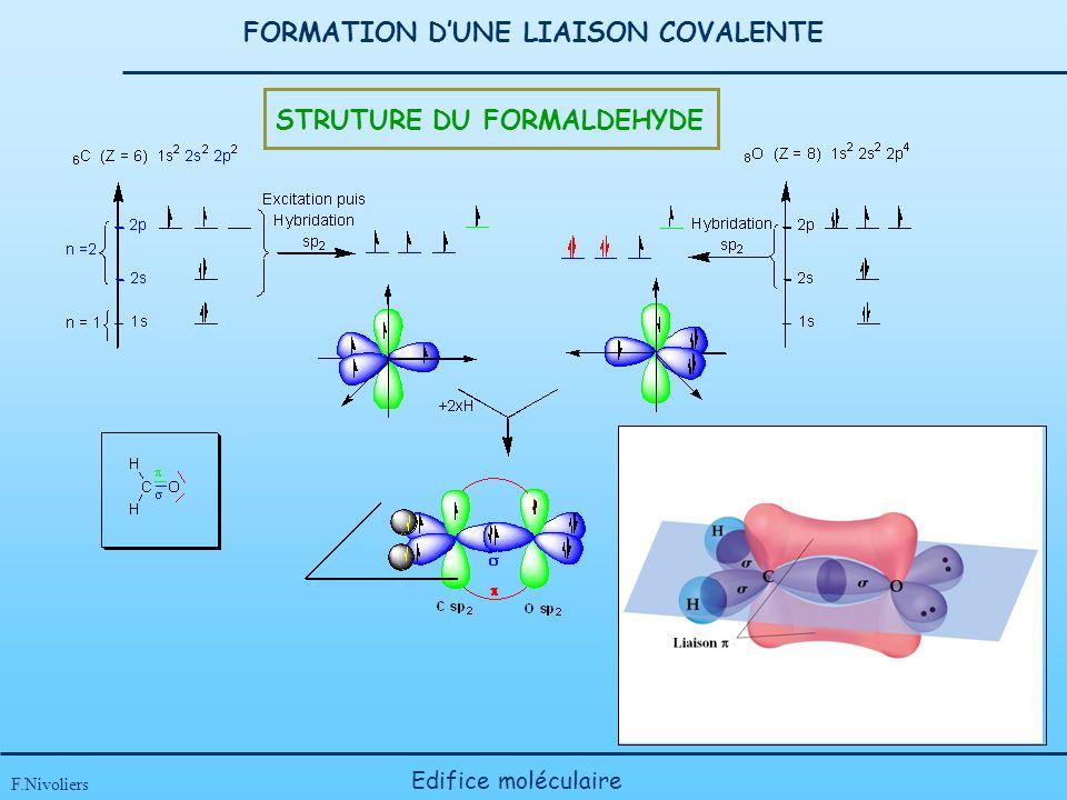 FORMATION DUNE LIAISON COVALENTE F.Nivoliers Edifice moléculaire STRUTURE DU FORMALDEHYDE
