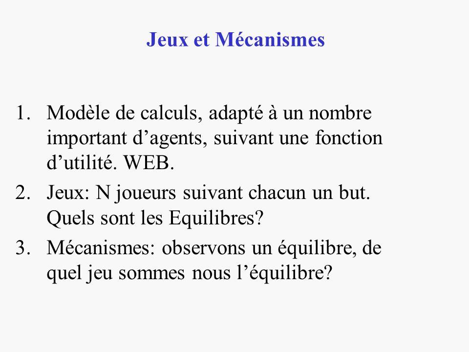 1.Modèle de calculs, adapté à un nombre important dagents, suivant une fonction dutilité. WEB. 2.Jeux: N joueurs suivant chacun un but. Quels sont les