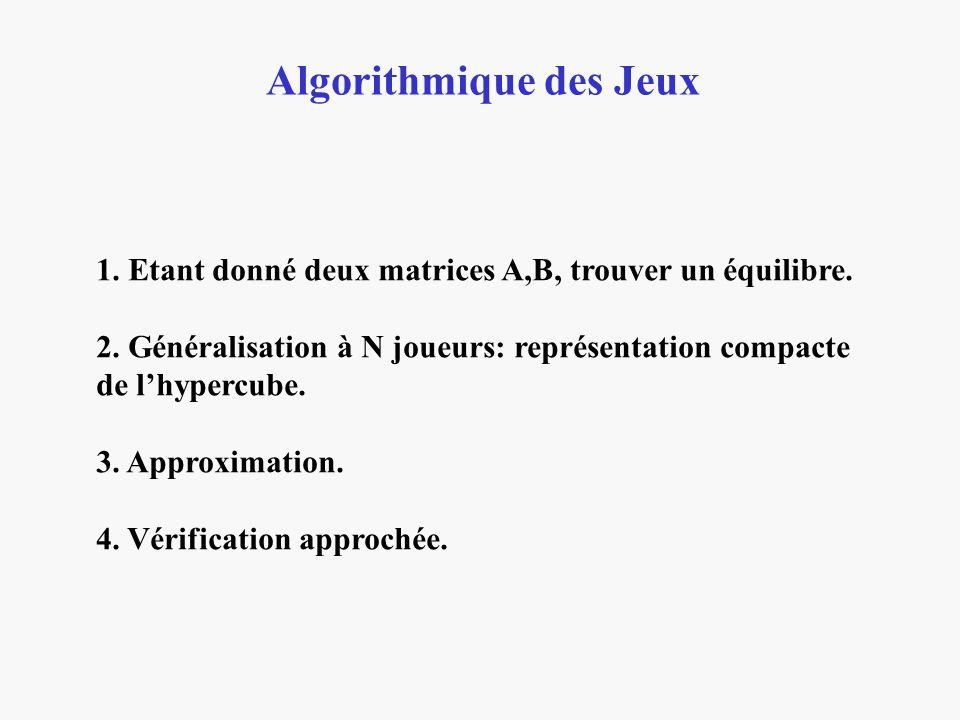 Algorithmique des Jeux 1. Etant donné deux matrices A,B, trouver un équilibre. 2. Généralisation à N joueurs: représentation compacte de lhypercube. 3