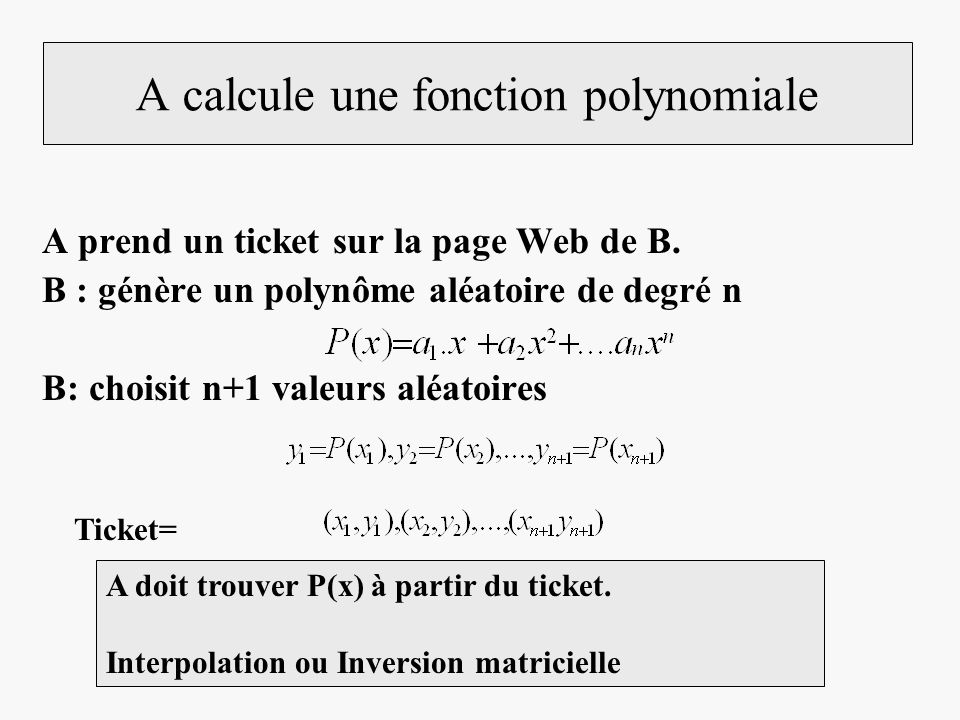 A calcule une fonction polynomiale A prend un ticket sur la page Web de B. B : génère un polynôme aléatoire de degré n B: choisit n+1 valeurs aléatoir