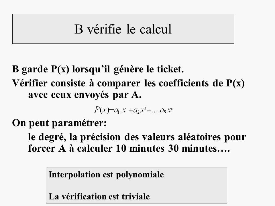B vérifie le calcul B garde P(x) lorsquil génère le ticket. Vérifier consiste à comparer les coefficients de P(x) avec ceux envoyés par A. On peut par