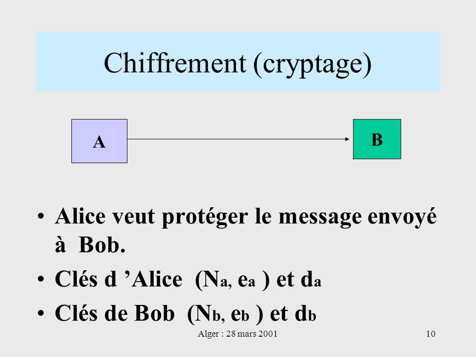 Alger : 28 mars 200110 Chiffrement (cryptage) Alice veut protéger le message envoyé à Bob. Clés d Alice (N a, e a ) et d a Clés de Bob (N b, e b ) et