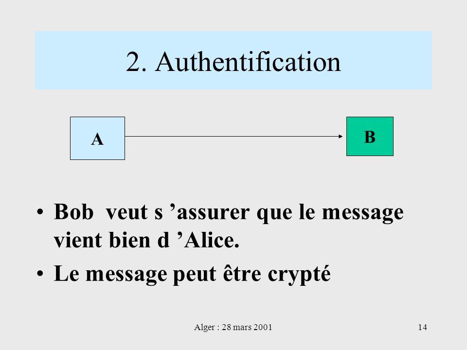 Alger : 28 mars 200114 2. Authentification Bob veut s assurer que le message vient bien d Alice. Le message peut être crypté A B