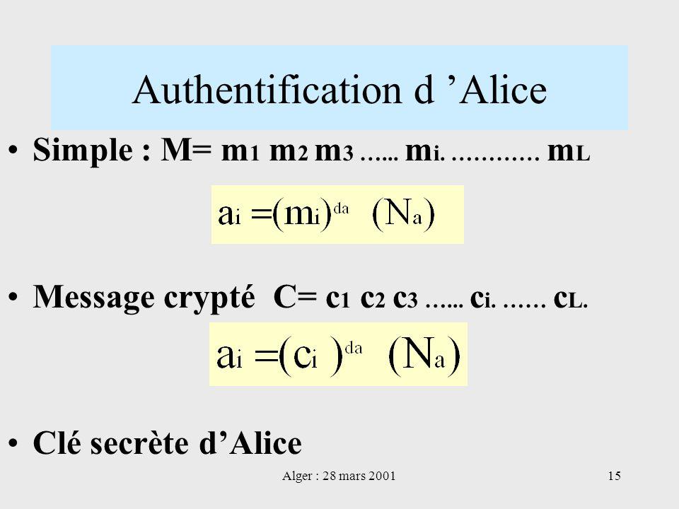 Alger : 28 mars 200115 Authentification d Alice Simple : M= m 1 m 2 m 3 …... m i. ………… m L Message crypté C= c 1 c 2 c 3 …... c i. …… c L. Clé secrète
