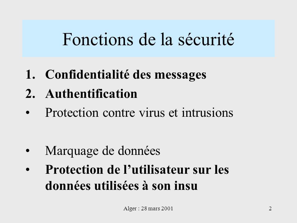 Alger : 28 mars 20012 Fonctions de la sécurité 1.Confidentialité des messages 2.Authentification Protection contre virus et intrusions Marquage de don